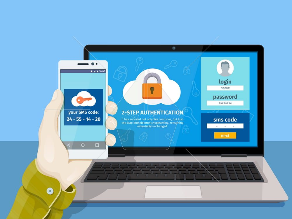 getting access to the website. Two steps authentication on computer. A man is sitting at a laptop with a mobile phone in his hand. Vector illustration for website
