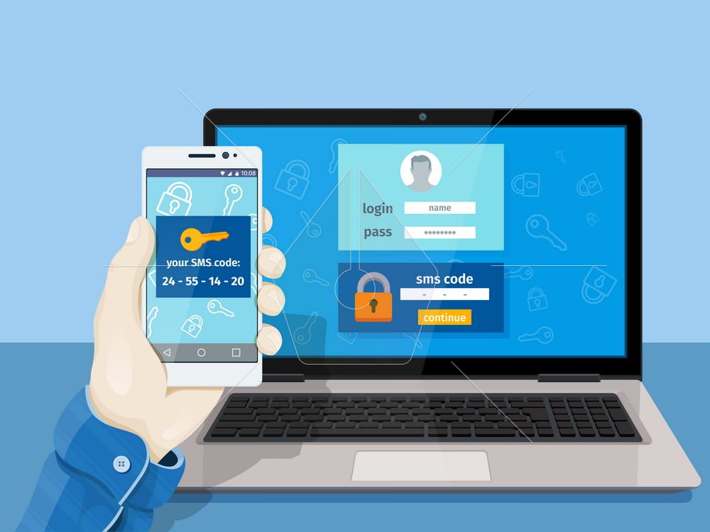2-step authentication SMS code password concept. A man is sitting at a laptop with a mobile phone in his hand. Vector illustration for website