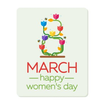 8 March Women's Day greeting card template. Green figure eight and a bouquet colored tulips. Vector illustration