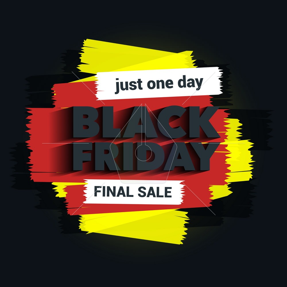 Black Friday sale inscription. The inscription with a long shadow. Brush strokes. Great discounts. Black Friday template for your banner or poster. Sale and discount. Vector illustration