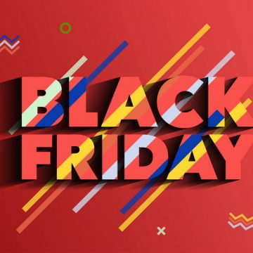 Black Friday. Sale and discounts fashion banner. Background with colored lines. A bright template in the memphis style. An inscription with a long shadow on a red background. Vector illustration.