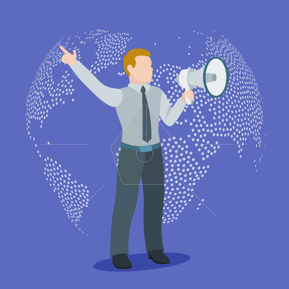 Speaker. A man with a loudspeaker on a background of the globe. The report of the information. Vector illustration in a flat style.