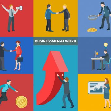 Business startup work moments. Flat icons set. Conversation, transactions, PR, new ideas, presentation, search for an investor, increase in profits, man running for the coin. Vector illustration.