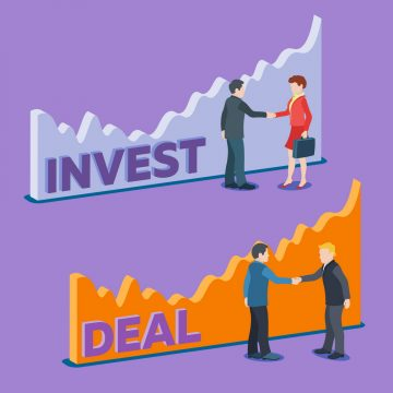 Business and deals banner in a flat style. Two men shaking hands on a background of the graphic. Business people in suits. Concept of partnership. Man shakes hands with a woman. Vector Illustration.
