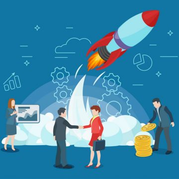 Start rocket ship in a flat style. Business startup work moments