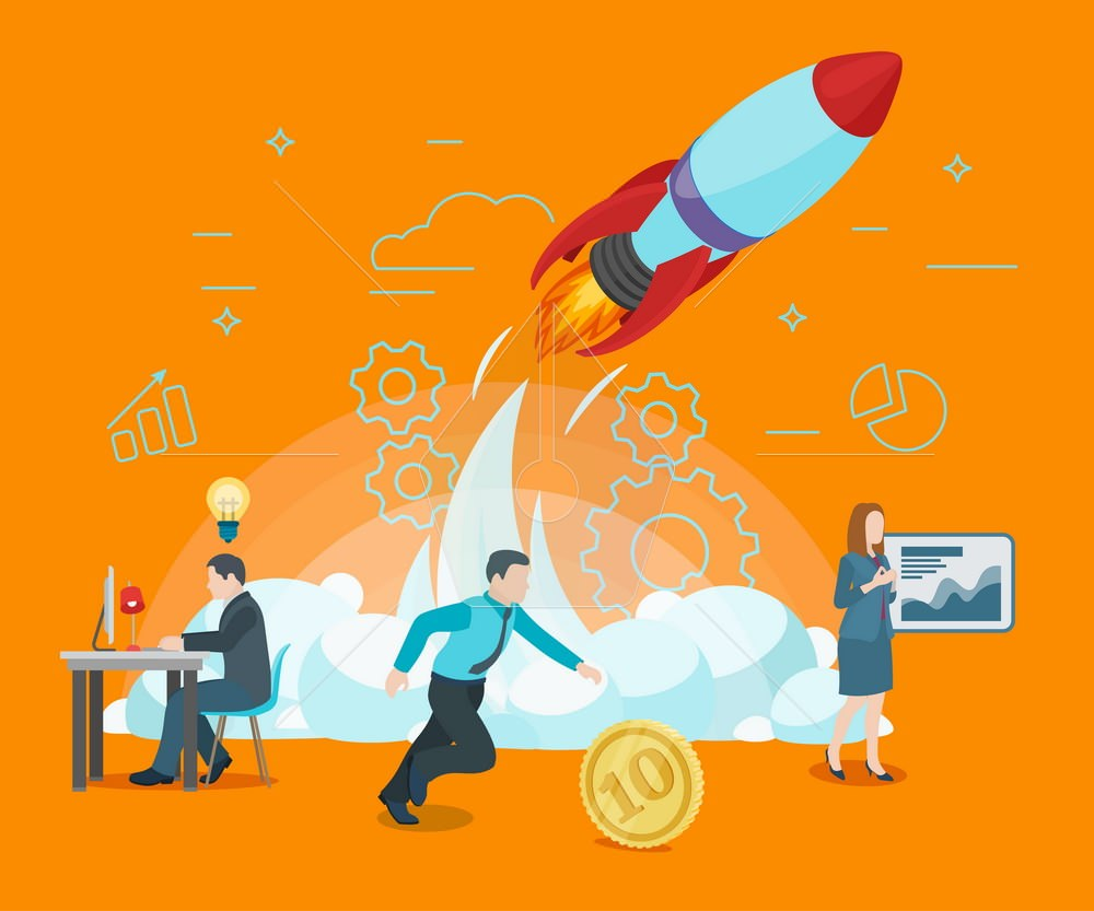Start rocket ship in a flat style. Startup work moments. The pre