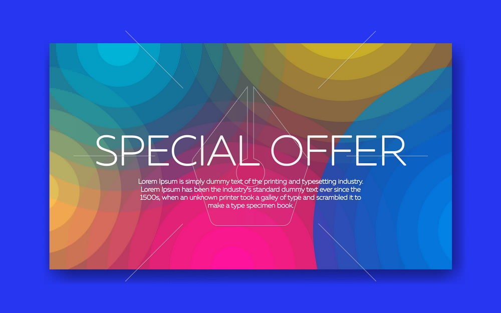 Trend lines and circles wallpaper in a modern material design style. Vector background with paper card and abstract colorful shapes. Abstract background for an advertising banner