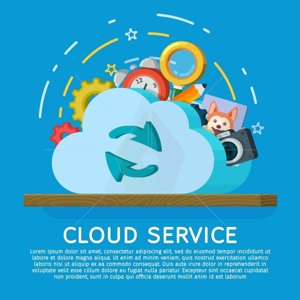 Cloud computing services banner in flat style. Networking communication and data icons. Data provision and cloud computing services. Data protection, online cloud storage, security, privacy.