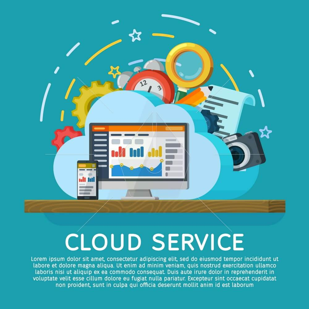 Cloud computing services banner in flat style. Networking communication and data icons. Data provision and cloud computing services. Syncing between a desktop computer and a mobile device.