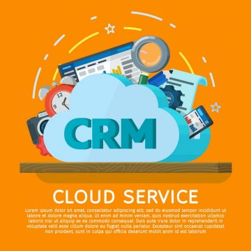 Cloud computing services banner in flat style. Networking communication and data icons. Data provision and cloud computing services. Online CRM Software. Data protection, security, privacy.