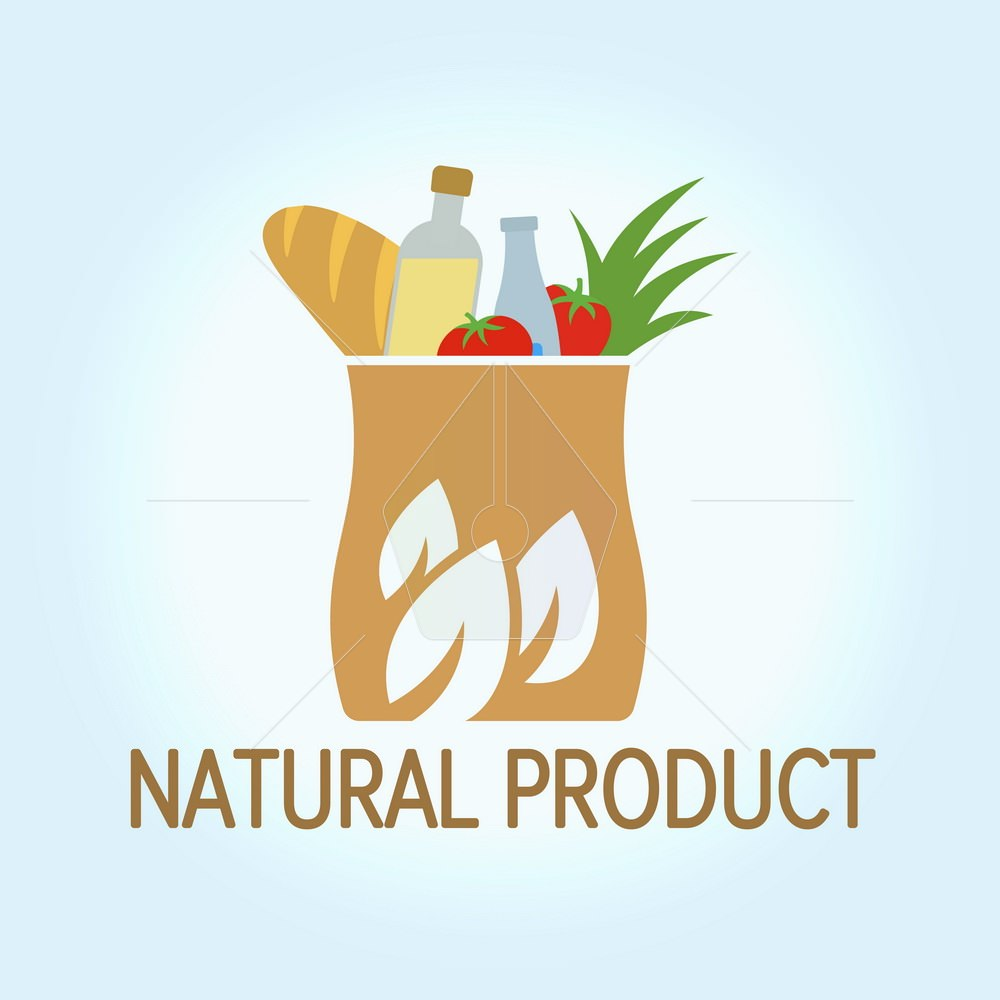 Eco Food Shopping Logo design vector template. Package with environmentally friendly goods. Logo for the store. Tree leaves icon. Vector illustration