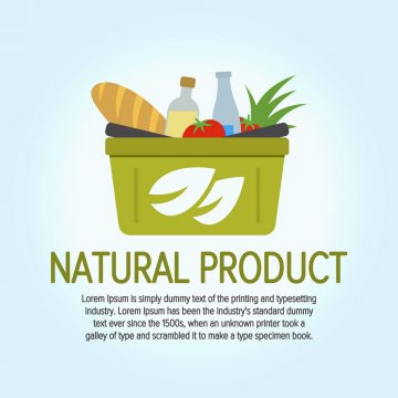 Eco Food Shopping Logo design vector template. Shopping basket with environmentally friendly goods. Logo for the store. Tree leaves icon. Vector illustration