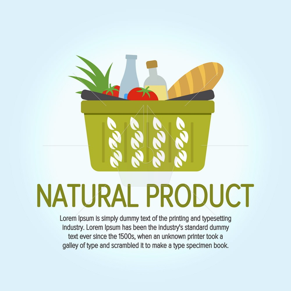 Tree leaves icon. Eco Food Shopping Logo design vector template. Shopping basket with environmentally friendly goods. Logo for the store. Vector illustration