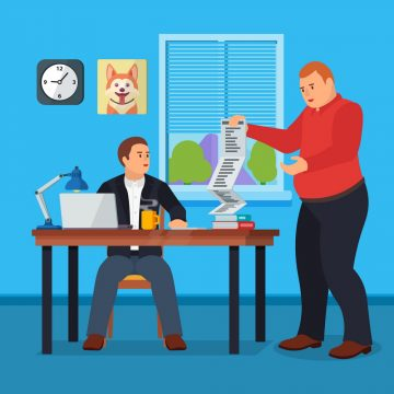 Hard Working man in office banner in flat style.Business situation. People in action. Computer, table, books, clock. Stock design elements. Time management and workflow management. Vector illustration