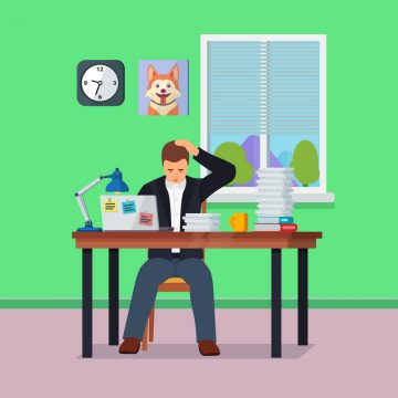 Hard Working man in office banner in flat style. Worker character doing hard work. Time management and workflow management. People in action. Stress on work. More paperwork Vector illustration