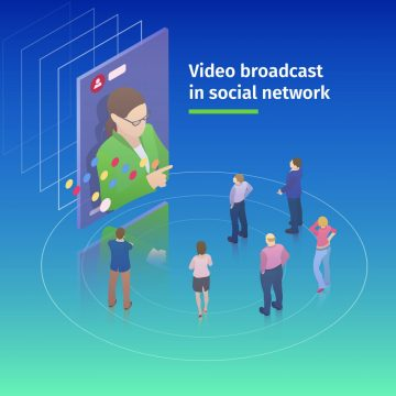 Video broadcast in social network. Flat 3d isometric design concept. People watch a video broadcast on the screen. Video streaming on smartphone. Watch online videos. Vector illustration.