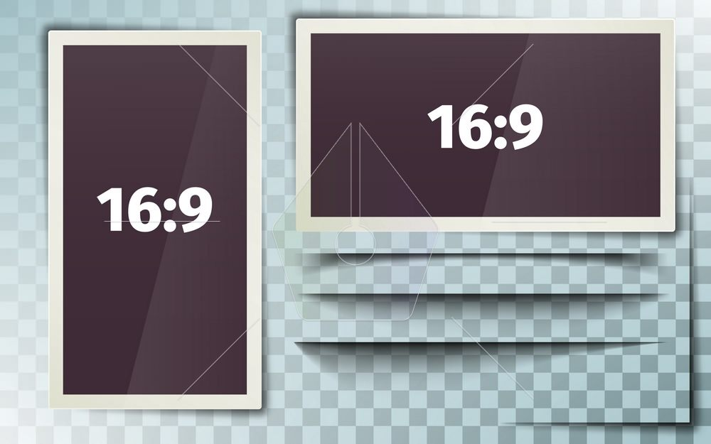 Photo frame 16:9. White plastic border on a transparent background. Photorealistic. Horizontal and vertical frame. Retro Photo Frame Template. Set of isolated shadows. Vector illustration.