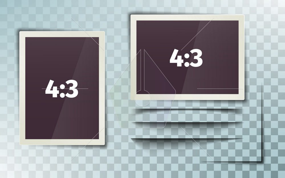 Photo frame 4:3. Photorealistic. White plastic border on a transparent background. Horizontal and vertical frame. Retro Photo Frame Template. Set of isolated shadows. Vector illustration.