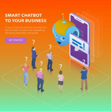 Chatbot and future marketing concept. Flat 3d isometric design c