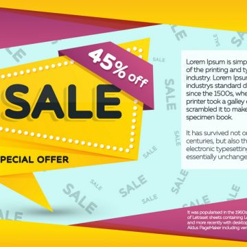 Sale and discounts yellow banner. Sale banner template design. G
