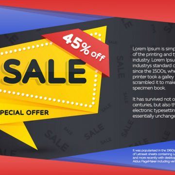 Sale and discount yellow banner on a dark background. Sale banne