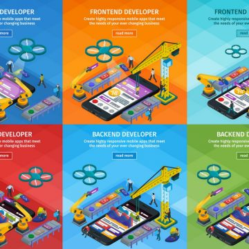 Developing mobile applications flat 3d isometric style. Vertical banners set web design. Frontend and backend app development. People working on startup. 3d crane and robotic arm. Vector illustration