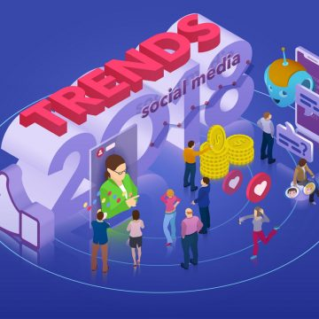 Trends in social network. Flat 3d isometric banner. Chatbot, video broadcast, stories, SMM promotion, online analytics. Inspiration concept template layout, diagram. Vector illustration.