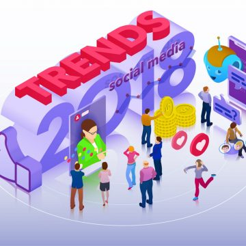 Trends in social media. Chatbot, video broadcast, stories, SMM promotion, online analytics. People in social network. Inspiration concept template layout, diagram. Flat 3d isometric banner.