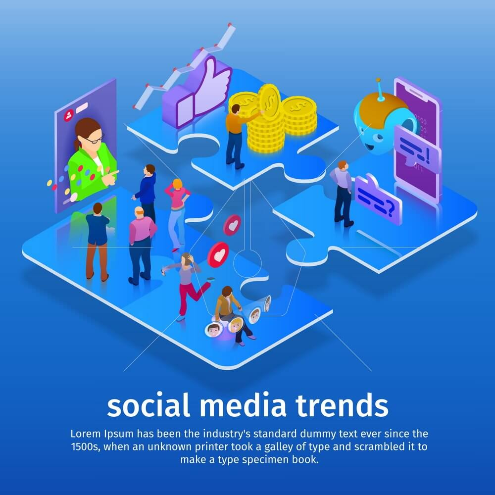 Trends in social media. Chatbot, video broadcast, stories, SMM promotion, online analytics. People in social network. Template for presentation. 3d puzzle pieces. Flat 3d isometric banner.
