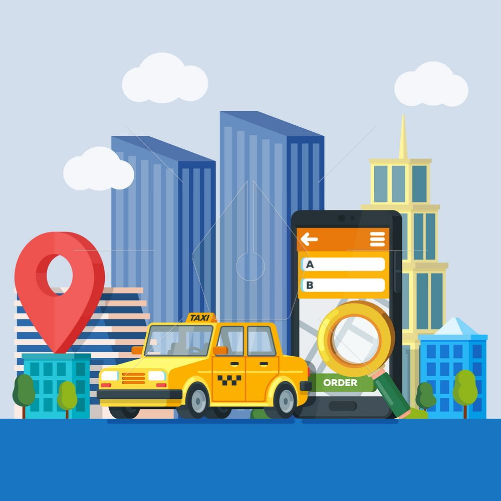 Online taxi service. Banner in flat 3d style. Yellow taxi cab. Mobile phone with map and big city on background. City silhouette with skyscrapers. Vector illustration