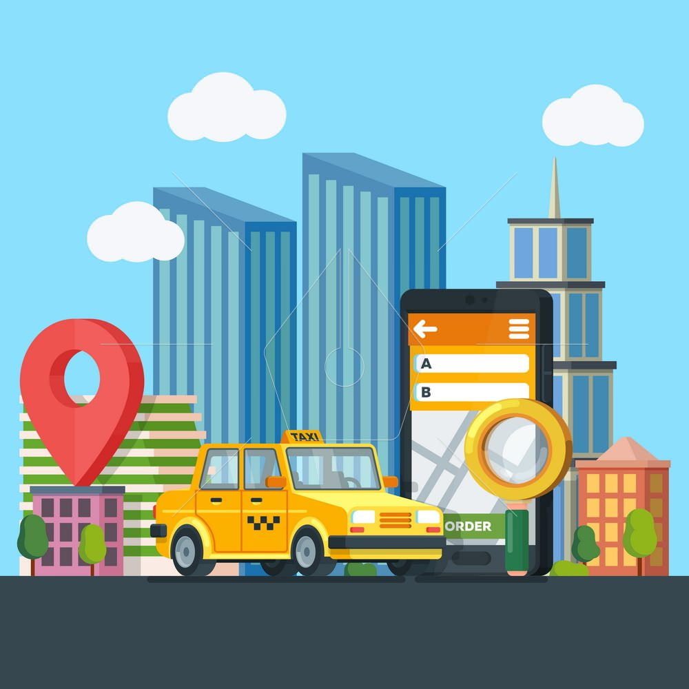 Online taxi service. Yellow taxi cab. Banner in flat 3d style. City silhouette with skyscrapers. Mobile phone with map and big city on background. Vector illustrations