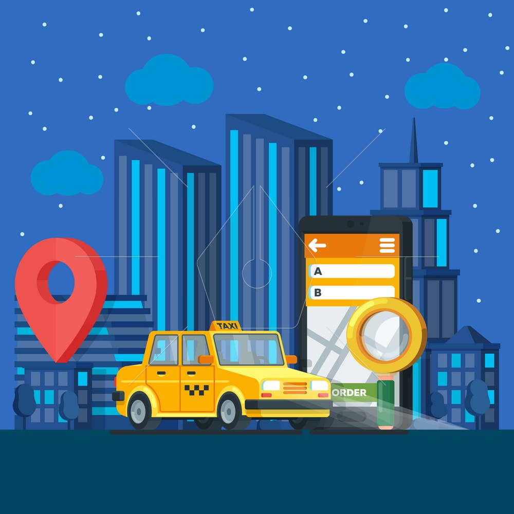Taxi service. Banner in flat 3d style. Yellow taxi cab. City silhouette with skyscrapers. Vector illustrations flat design in flat modern style. Vector illustration.