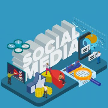 Trends in social networks. Flat 3d isometric banner. Chatbot, video 360 degrees, SMM promotion and marketing. Inspiration concept template layout, diagram, step up. People at work