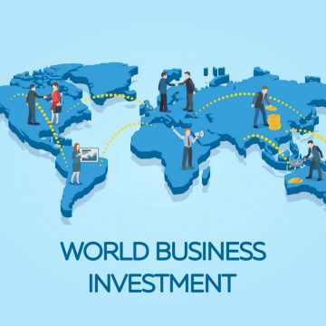 People on the world map. Business startup work moments flat 3d b