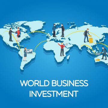 People on the world map. Business startup work moments flat 3d banner. New ideas, search for investor, increased profits. Business situation. Vector illustration