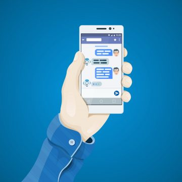 Chatbot concept. Phone in hand in flat style. Man's hand holding a phone concept. Dialogue on the smartphone screen. Mobile app vector illustration. User chatting with chatbot in mobile application.
