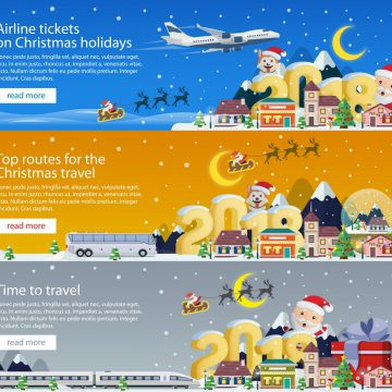 Merry Christmas 2018 banners in flat style. Traveling by plane, bus and train. Santa Claus and the dog. The winter vacation. Mountains, buildings, trees and snow. Christmas travel vector illustration
