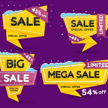 Christmas and New Year's sale. Discount and promotion banners. Set of yellow colored stickers and banners. Sale tags with snow caps and icicles. Advertising element. Vector illustration.