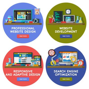 Web design and site elements templates in circles. Set banners in flat style. Website and apps development. Web design. Programming and coding. Search optimization, SEO. responsive and adaptive design
