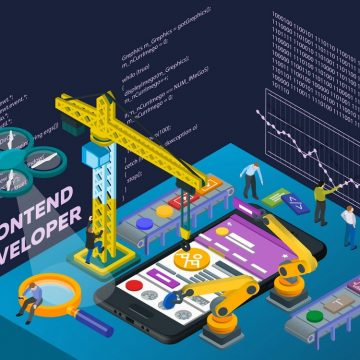 Mobile App Development. Flat 3d isometric mobile UI web design concept