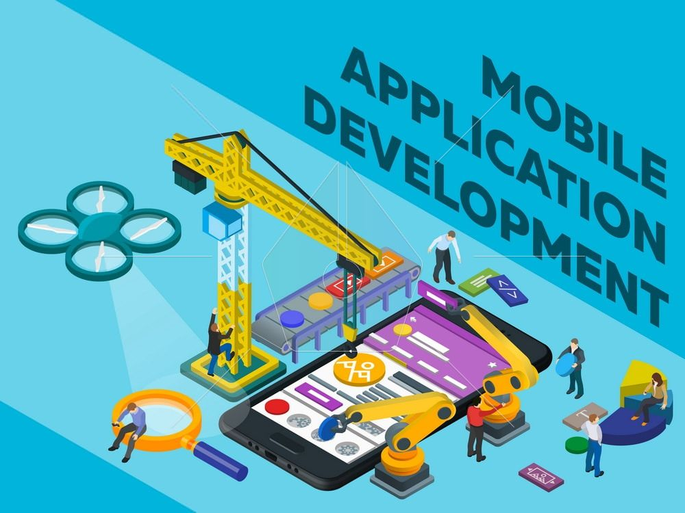 Mobile App Development. Flat 3d isometric mobile UI web design concept. Software for Smartphone. Futuristic virtual graphic user interface. People at work in different poses. Vector illustration