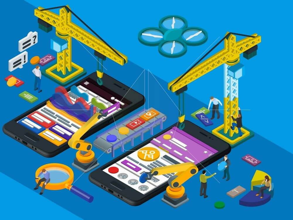 Mobile App Development. Flat 3d isometric mobile UI, UX design concept. Frontend and backend interface mobile application. Futuristic virtual graphic user interface. People at work in different poses.