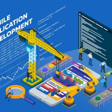 Mobile App Development. Flat 3d isometric mobile UХ web design concept. Isometric infographic concept. Program code on a screen. People at work in different poses. Vector illustration