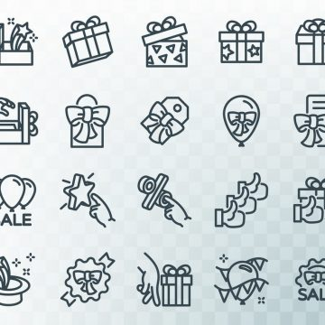 Simple set of gifts related. Line icons. Template for the holiday, sales and discounts. Vector illustration