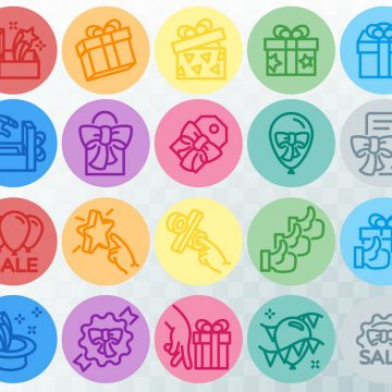 Simple set of gifts related. Colored line icons. Template for the holiday, sales and discounts. Vector illustration
