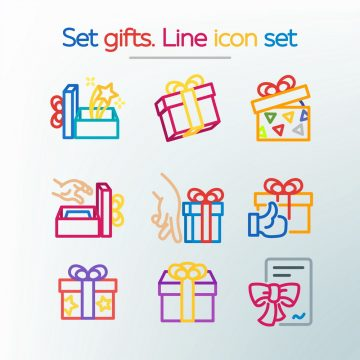 Simple set of gifts. Colored line icons. Template for the holiday, sales and discounts. Vector illustration