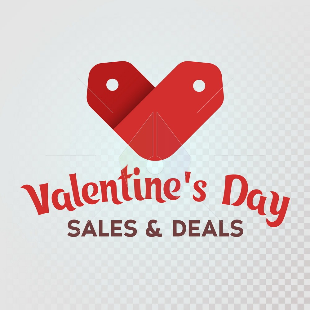 Red label sale shaped heart on a red background. st. Valentines Day. Sale and deals. Logo for the advertising banner and promotions. The isolated heart icon. Vector illustration