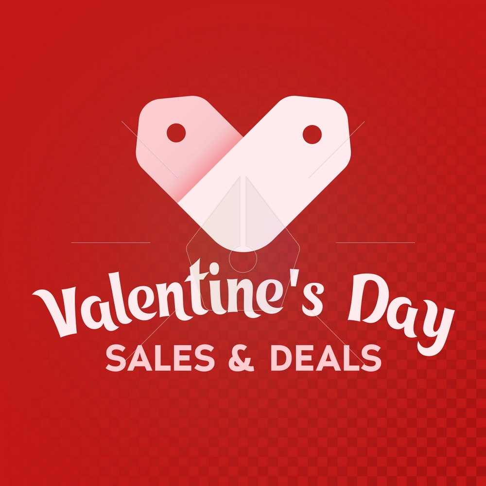 White label sale shaped heart on a white background. st. Valentine's Day. Sale and deals. Logo for the advertising banner and promotions. The isolated heart icon. Vector illustration
