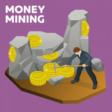 Money mining flat 3d isometric banner. Rock stone cartoon in isometric flat style. A man in a suit with a pickaxe to mine gold coins. Businessman seeking financial success. Vector illustration
