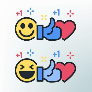 Smile, thumb up and heart. Facebook colored lines icons